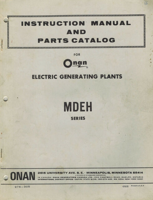 Onan MDEH Spec a Genset Illustrated Parts Catalog Manual 976-305
