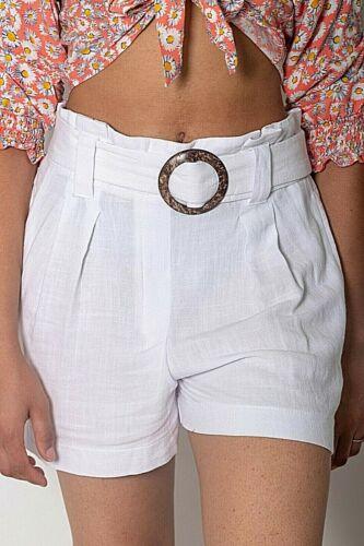 Da Donna Ex New Look Bianco Sporco Con Cintura Fibbia Ad Anello Misto Lino Pantaloni Corti Taglia 6-18