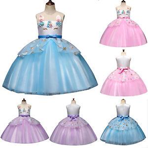 Kostüm Blume Party Cosplay Mädchen Abendkleid Kleider Prinzessin Details About Einhorn Kinder cjL34A5qR