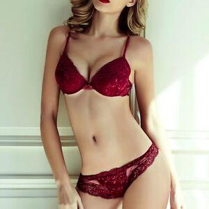 Women-039-s-Push-Up-Bra-Set-Soft-Cup-Lace-Underwear-Set-32-34-36-A-B-C-Cup-5-Colors