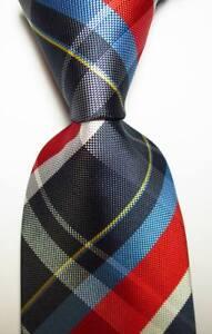 New-Classic-Checks-Blue-Red-White-Yellow-JACQUARD-WOVEN-Silk-Men-039-s-Tie-Necktie