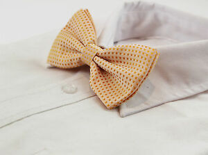 MENS-ORANGE-POLKA-DOT-BOW-TIE-Pretied-Adjustable-Tuxedo-Formal-Wedding-Patterned
