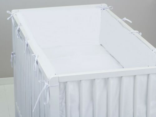 ALL ROUND BUMPER padded filled straight cot //cot bed WHITE PLAIN 4 sides AROUND