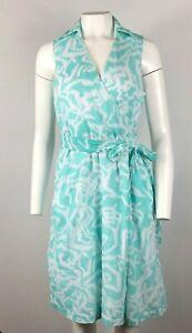 PENDLETON-Dress-Aqua-Blue-Green-White-Floral-Tie-Wrap-Front-VNeck-Size-6-A17