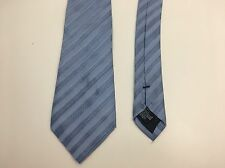 Armani Collezioni Blue Repeat Pattern Silk Slim Skinny Tie Made In Italy