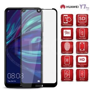 Details about Huawei Y7 Pro (2019) DUB-LX2 - Full Glue Tempered Glass  Screen Protector [Black]