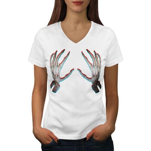 Touch Me Graphic Design Tee Wellcoda Skeleton Bare Hand Womens V-Neck T-shirt