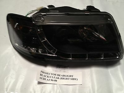 Audi A3 96 97 98 99 00 Black Projector LED Headlights Passenger Side Only