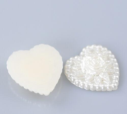 36D 30 FLAT BACK IVORY PEARL FLOWER HEARTS 17mmx18mm Cards~Weddings~Birthdays