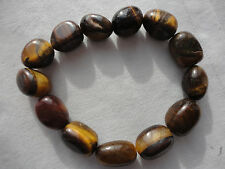 Scottish shiny brown striated tiger eye agate 15mm bead 31 gram elastic bracelet
