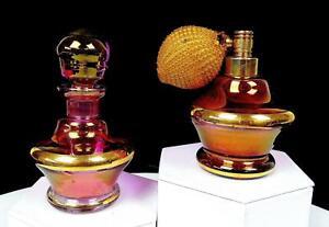 "BOHEMIAN CZECH ART GLASS PURPLE 2PC IRIDESCENT GOLD 3"" ATOMIZER & PERFUME BOTTLE"