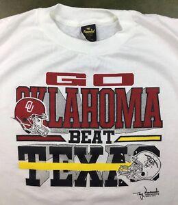 Vintage Mens L 80s University Oklahoma OU Sooners Football Go Beat ... b82d7f03d
