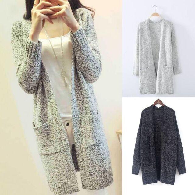 Plus Size Women Knitted Sweater Coat Cardigan Long Sleeve Jacket Outwear Tops