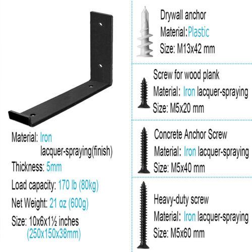 "12 Packs Heavy Duty Black Wall Hook Iron Shelf J Brackets 10/""L x 6/""H x 1½/""W"