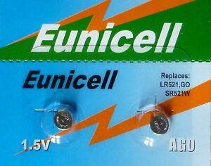EUNICELL - 2 PILES  AG0 / SR521 / LR521 / 379 /SR521SW  1,5V ALCALINE