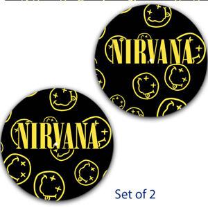 """Diligent Lot De 2 Nirvana Smileys #2 Dj Glisse Mat 12"""" Lp Scratch Slipmat Audiophile-afficher Le Titre D'origine"""