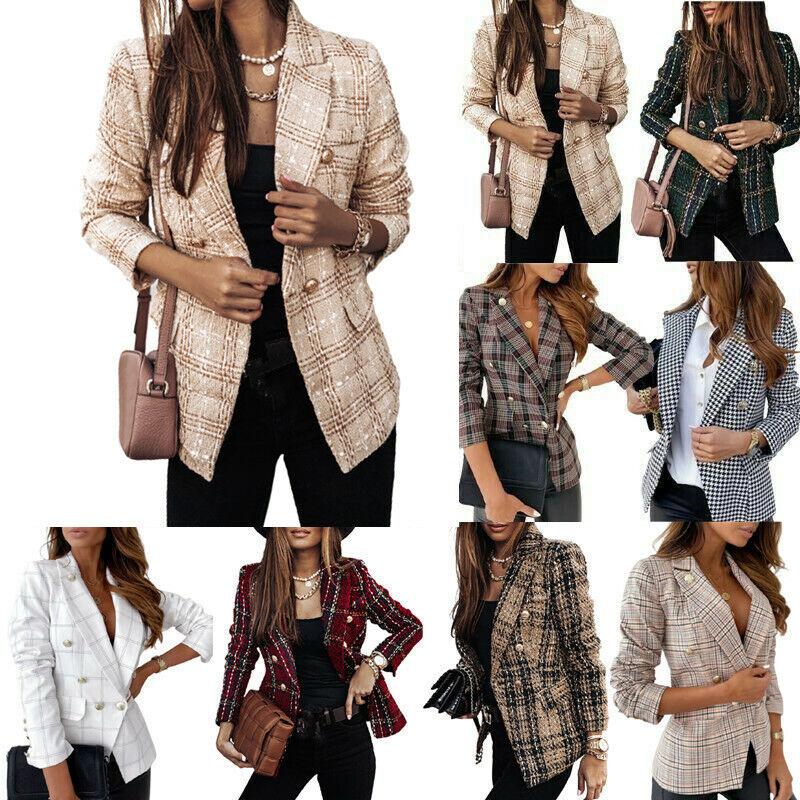 Women WinterCheck Plaid Tartan Outwear Long Sleeve Blazer Suit Tweed Coat Jacket