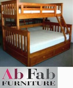 Fort Single Double Trio Timber Bunk Bed And Trundle Ebay