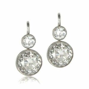 Earrings-Antique-Vintage-Art-Deco-14K-White-Gold-Over-2-Ctw-Diamond-Halo-1920-039-s