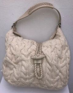 BANANA-REPUBLIC-WOMEN-S-SHOULDER-BAG-KNITTED-IVORY-WOOL-MIX-LEATHER-TRIM-HANDBAG