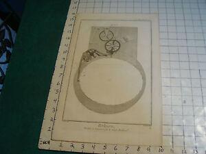 """Original engraving 1760's 10 1/2 x 16"""" PENDULE A EQUATION PAR LE SIEUR BETHOUD"""
