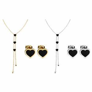 Women-Stainless-Steel-Love-Heart-Earrings-Pendant-Necklace-Long-Chain-Choker-Set