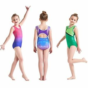 3-12Y Leotard Gym Unitard Ballet Dancewear Girls Sports Shiny Gymnastic Leotards