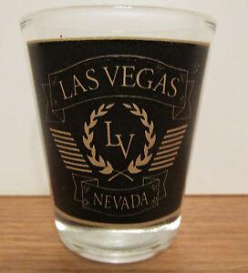 LAS-VEGAS-NEVADA-BLACK-amp-GOLD-SHORT-SHOT-GLASS