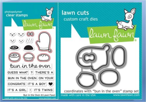 Lawn Fawn Photopolymer Clear Stamp /& Die Combo ~ BUN IN THE OVEN  ~LF1317,LF1318