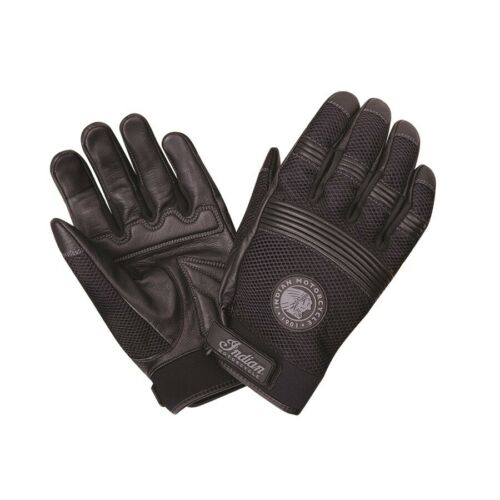 GENUINE INDIAN MOTORCYCLE MEN/'S MESH 2 LEATHER PALM WARM WEATHER GLOVES BLACK