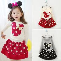 Baby Girls Kids Toddler Minnie Mouse T-shirt Tops + Tutu Dress 2Pcs Outfit Set