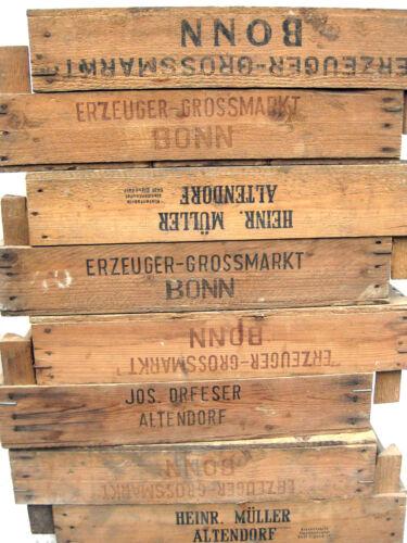 2 x vieux légumes Boîte Lot caisse panier de fruits bois deco caisse vintage 60er shabby