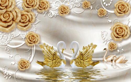 VLIES Fototapete-ABSTRAKT DESIGN- -Gold Rosen Perlen Diamanten Schwan XXL 2024V