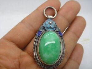 China-Natural-inlay-tibet-silver-green-jade-enamel-Cloisonne-blue-Flower-Pendant