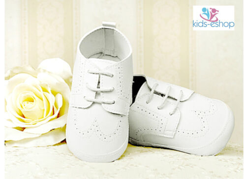 BABY BOYS WHITE FAUX LEATHER PRAM SHOES CHRISTENING WEDDING SMART FORMAL PARTY