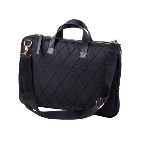 Work Shoulder Bag With Strap And Rose Gold Finishes Black Quilted Laptop