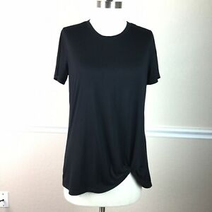 Old-Navy-Active-Womens-Top-Tall-M-Knotted-Short-Sleeve-Crew-Neck-Black