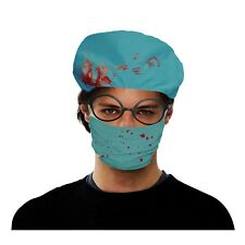 Blue Adults Bloody Surgeon Hat & Face Mask Set - Adult And Halloween Costume