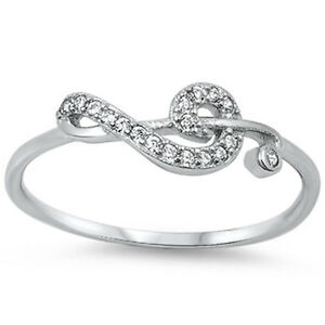 cz note 925 sterling silver ring sizes 3 15 ebay