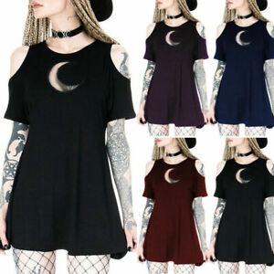 Women-Hollow-Out-Punk-Dress-Cold-Shoulder-Goth-Short-Sleeve-Summer-Mini-Dresses