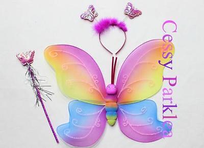Rainbow Butterfly Wings Headband Wand Kit Fancy Dress Costume Party Accessories