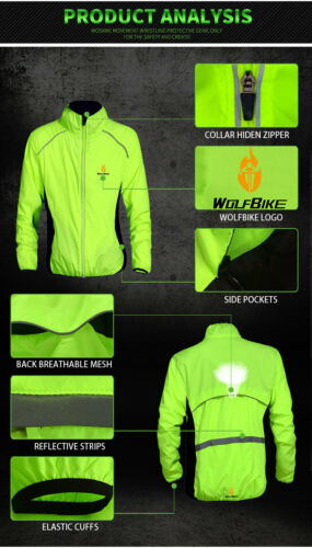 RUNNING BIKE MEN HI VIZ CLOTHING WEAR WIND RAIN COAT JACKET JERSEY OUTDOOR SPORT