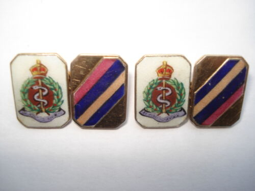 C1950S VINTAGE ROYAL ARMY MEDICAL CORPS HAND PAINTED ENAMEL REGIMENTAL CUFFLINKS