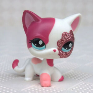 Littlest-Pet-Shop-LPS-Toys-2291-Pink-White-Sparkle-Glitter-Short-Hair-Cat-Kitty
