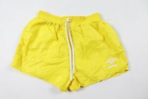 Vintage-80s-New-Umbro-Youth-Large-Spell-Out-Nylon-Soccer-Shorts-Yellow-USA
