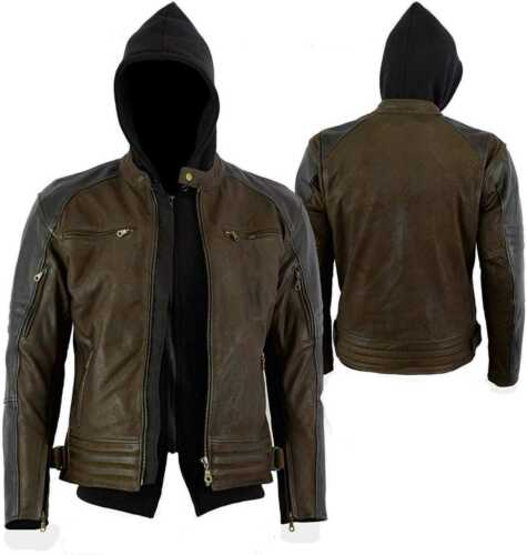 NABUK Body milled Giacca di Pelle con hood jacket with hoodie tutti i grandi s-9xl NUOVO