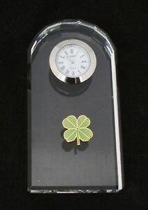 Four Leaf Clover Glass Clock Bedside or Desk Top Clover Gift Boxed 138