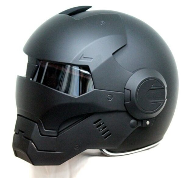 Masei 610 Atomic-Man Iron Flip-Up Bike Motorcycle Helmet Matt Black S L XL