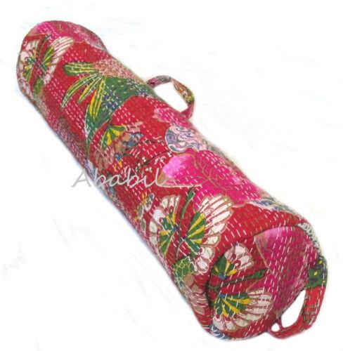 Handmade Elegant Kantha Floral Yoga Mat Carrier Cotton Bag with Shoulder Strap A