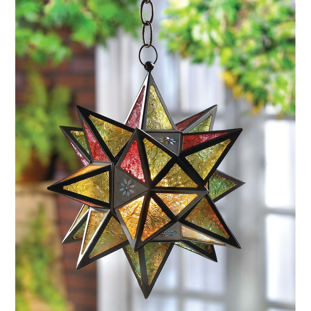 MGoldccan-Style MulticolGoldt Star Hanging Candle Lantern